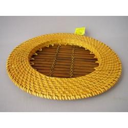 Bambusovo ratanový tácek žlutý