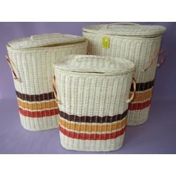 Prádelní koš bílý ratan ovál